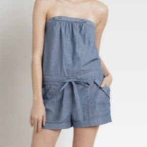 BCBGmaxazria Strapless Chambray Jumper Pockets